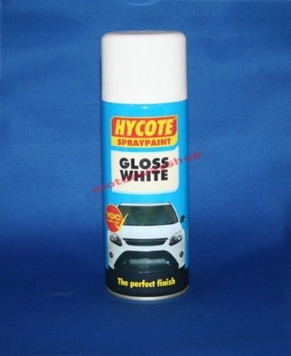 Gloss White Spray Paint Hycote 400ml Aerosol Car Van Bike Boat Home